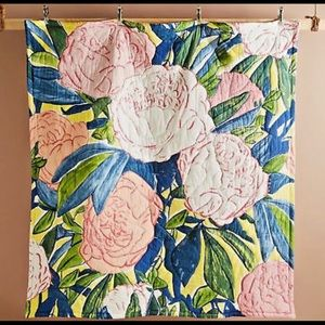 Anthropologie Queen Quilt Paint & Petals Floral